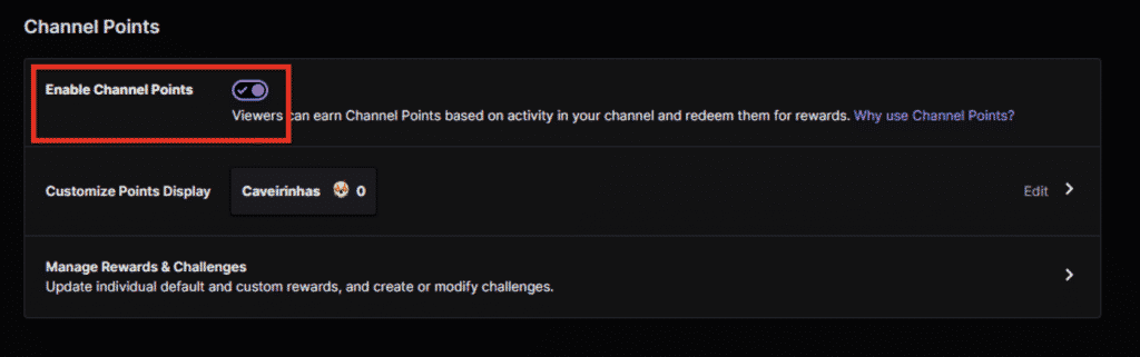How to enable points and rewards on Twitch